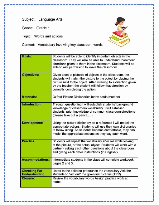 Lesson Plan Template for Teachers Awesome Daily Lesson Plan Template