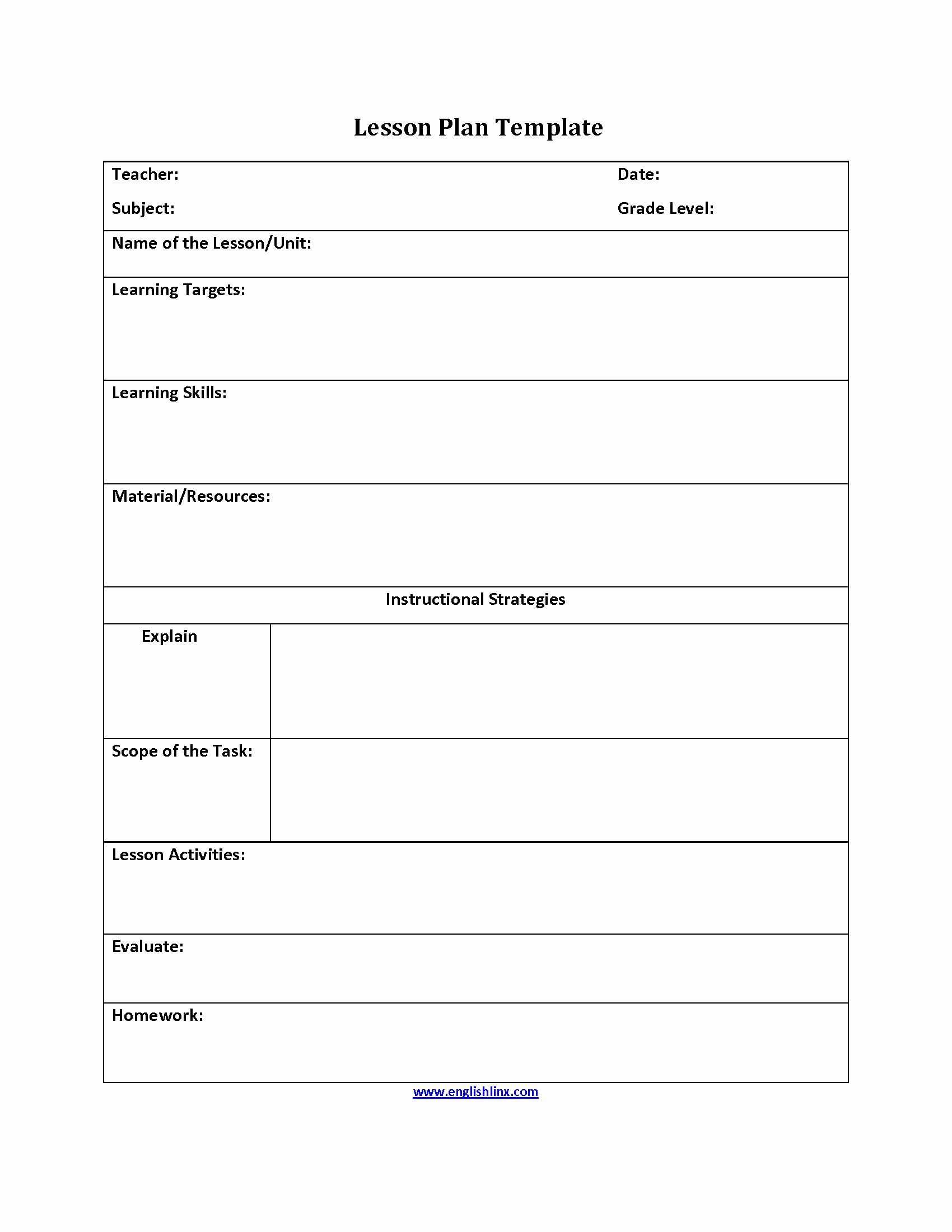 Lesson Plan Template for Teachers Beautiful Lesson Plan Template