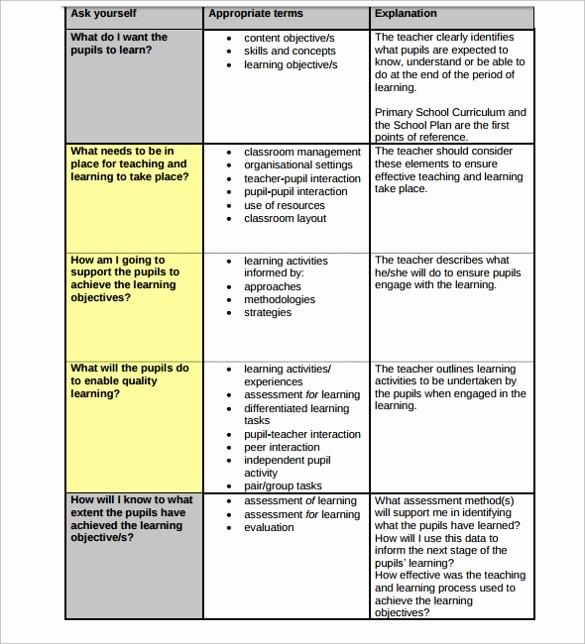 Lesson Plan Template for Teachers Elegant 19 Sample Teacher Lesson Plan Templates