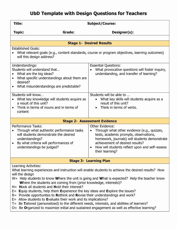 Lesson Plan Template for Teachers Fresh 78 Best Understanding by Design Images On Pinterest