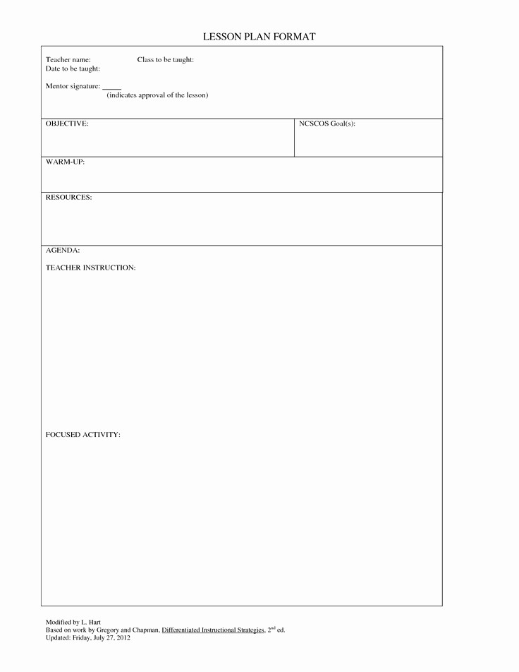 Lesson Plan Template for Teachers Fresh Blank Lesson Plan Template