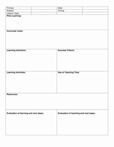 Lesson Plan Template for Teachers Inspirational Blank 8 Step Lesson Plan Template by Kristopherc