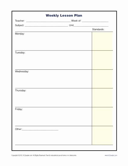 Lesson Plan Template for Teachers Lovely Weekly Lesson Plan Template with Standards Elementary