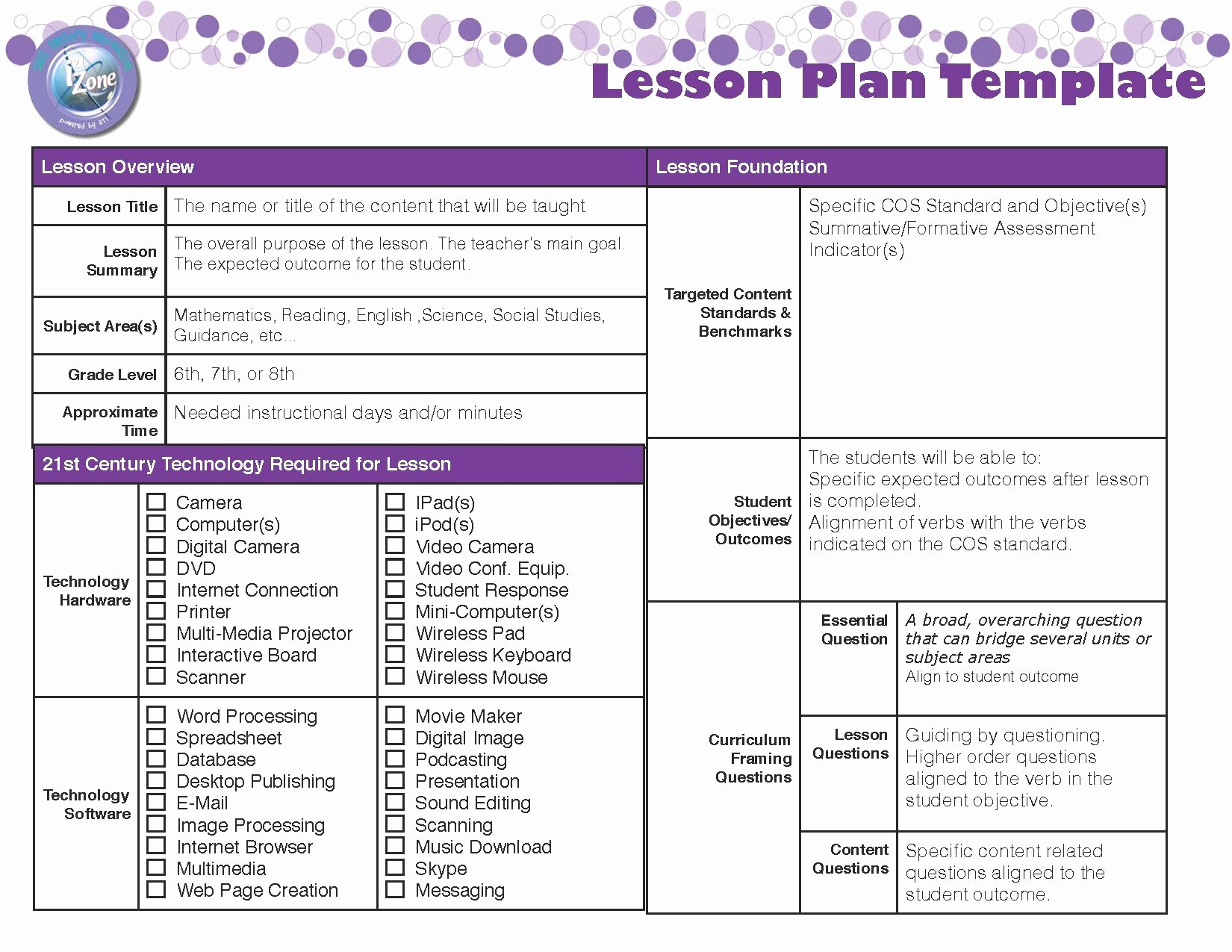 Lesson Plan Template for Teachers Luxury Lesson Plan Template