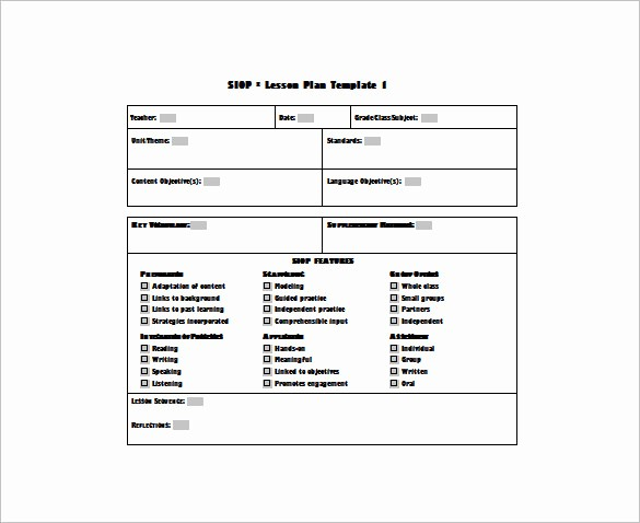 Lesson Plan Template Word Doc Awesome 9 Siop Lesson Plan Templates Doc Excel Pdf