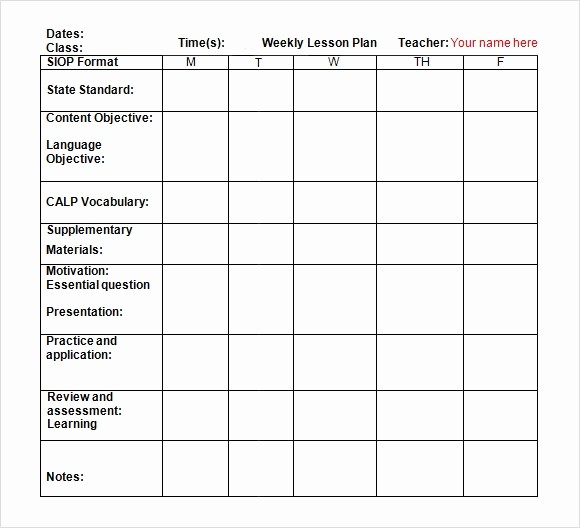 Lesson Plan Template Word Doc New 9 Sample Weekly Lesson Plans