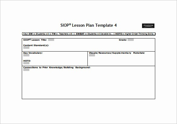 Lesson Plan Template Word Document Best Of 9 Siop Lesson Plan Templates Doc Excel Pdf