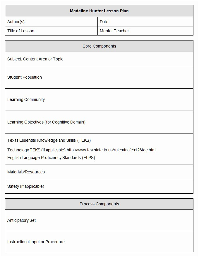 Lesson Plan Template Word Document Inspirational Madeline Hunter Lesson Plan Template