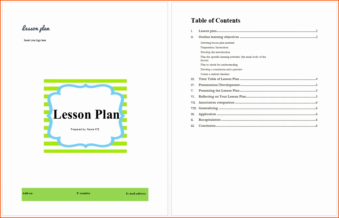 Lesson Plan Templates for Word Awesome 7 Lesson Plan Template Word Bookletemplate
