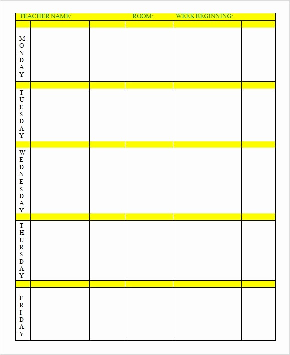 Lesson Plan Templates for Word Beautiful 9 Sample Weekly Lesson Plans