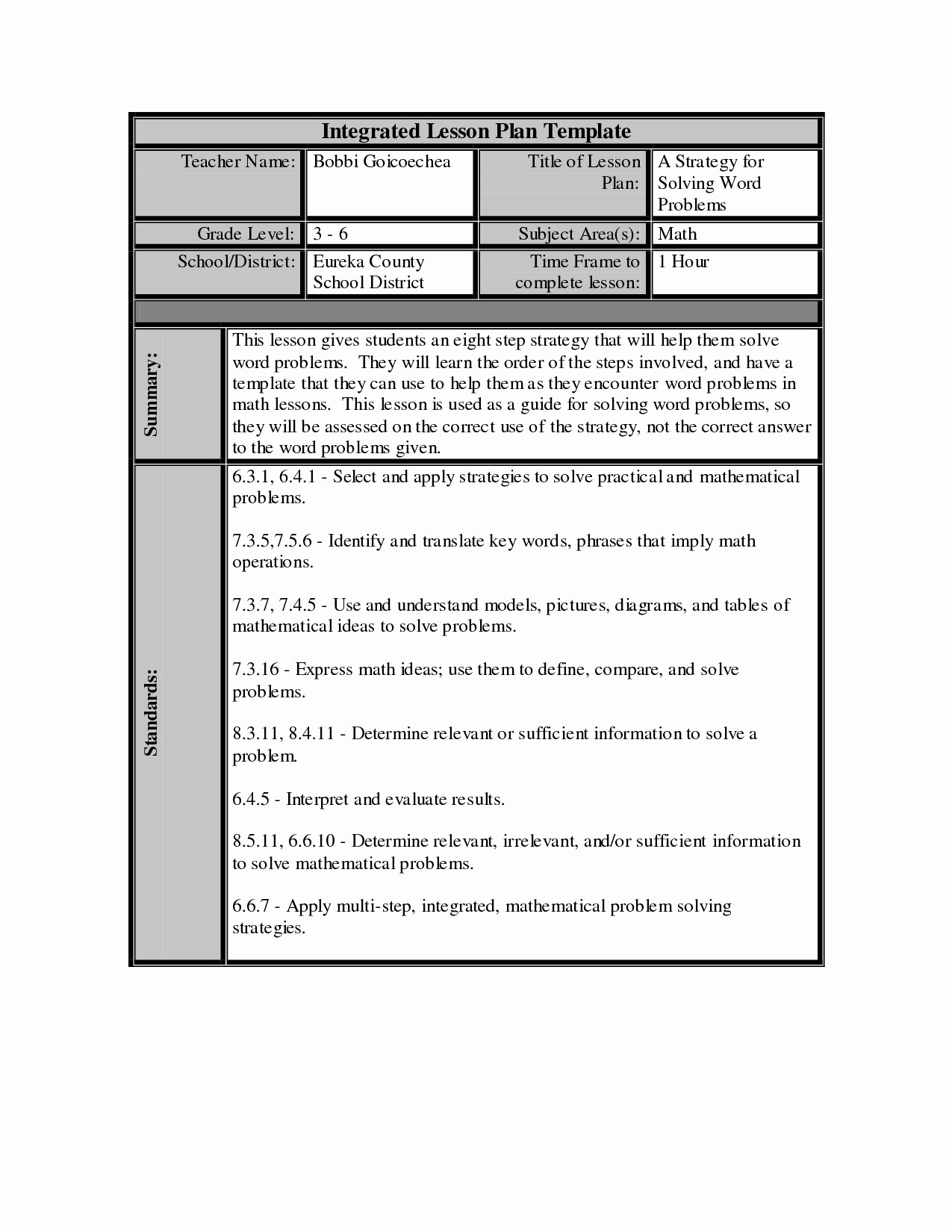 Lesson Plan Templates for Word Inspirational Lesson Plan Template Word