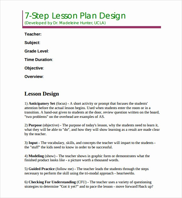 Lesson Plans for Microsoft Word Fresh Madeline Hunter Lesson Plan Template Templates Resume
