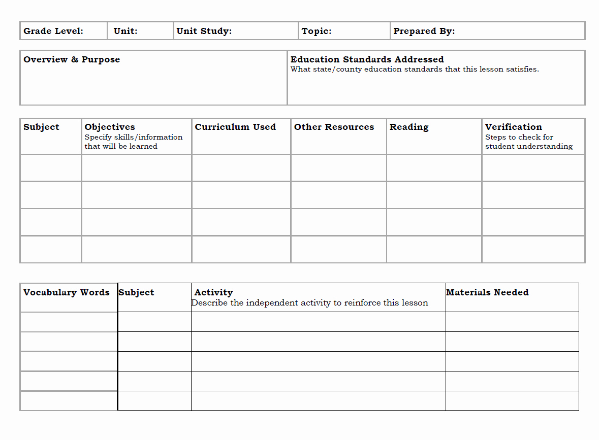 Lesson Plans for Microsoft Word New Fice Lesson Plan Template Templates Station