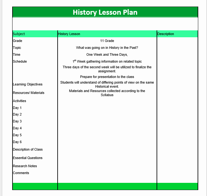 Lesson Plans for Microsoft Word Unique History Lesson Plan Template – Microsoft Word Templates