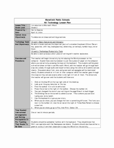 Lesson Plans for Ms Word Awesome Introduction to Microsoft Word Lesson Plan for 2nd Grade