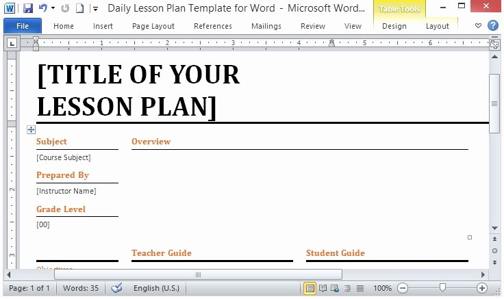 Lesson Plans for Ms Word Elegant Lesson Plan Template Word