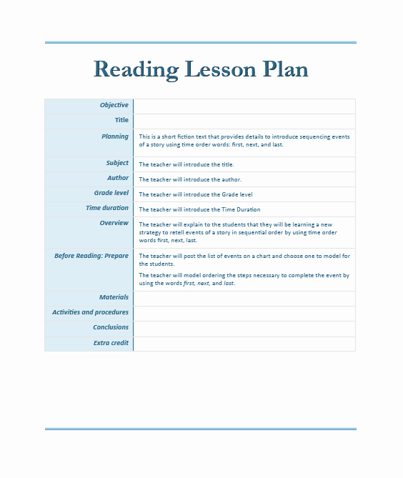Lesson Plans for Ms Word Elegant Reading Lesson Plan Template – Microsoft Word Templates