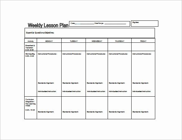Lesson Plans for Ms Word Unique Weekly Lesson Plan Template Word