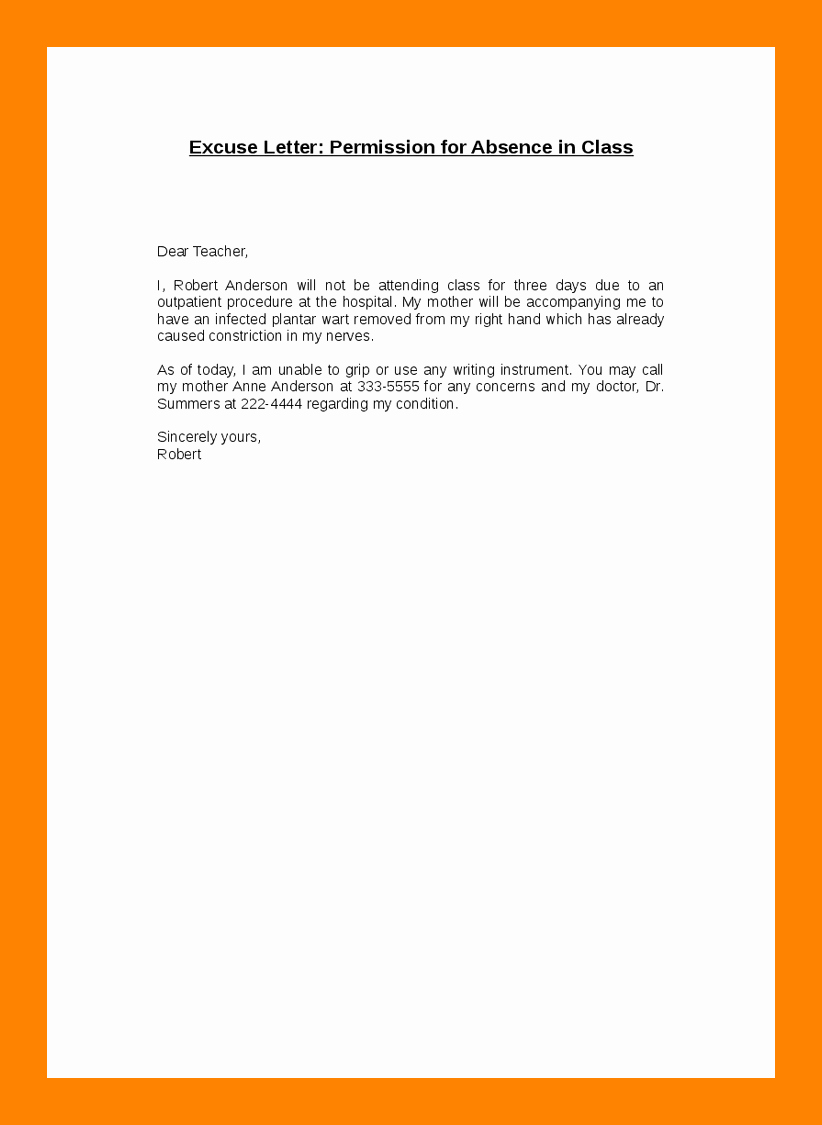 Letter for Absence In School Best Of 14 Excused Absence From School Letter