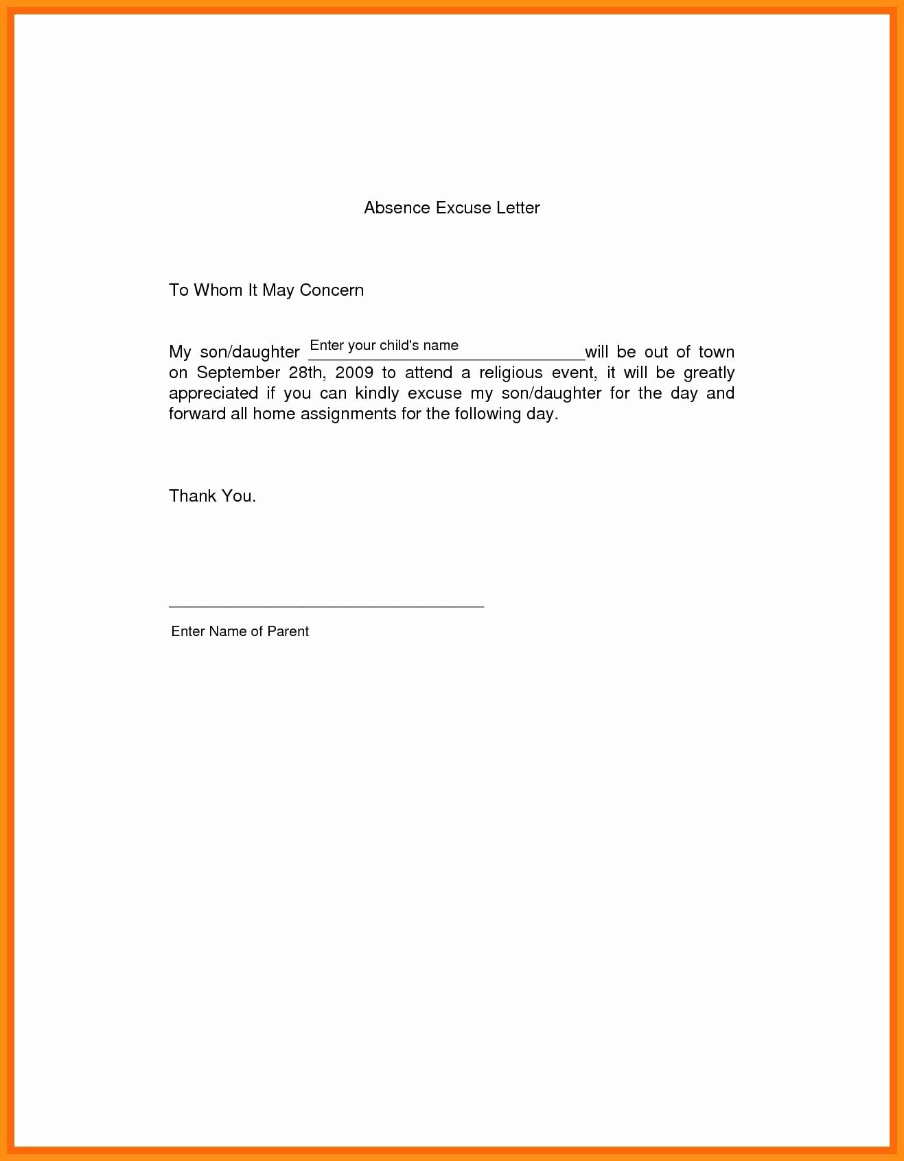 Letter for Absence In School Elegant 3 4 Please Excuse My Daughter Absent School