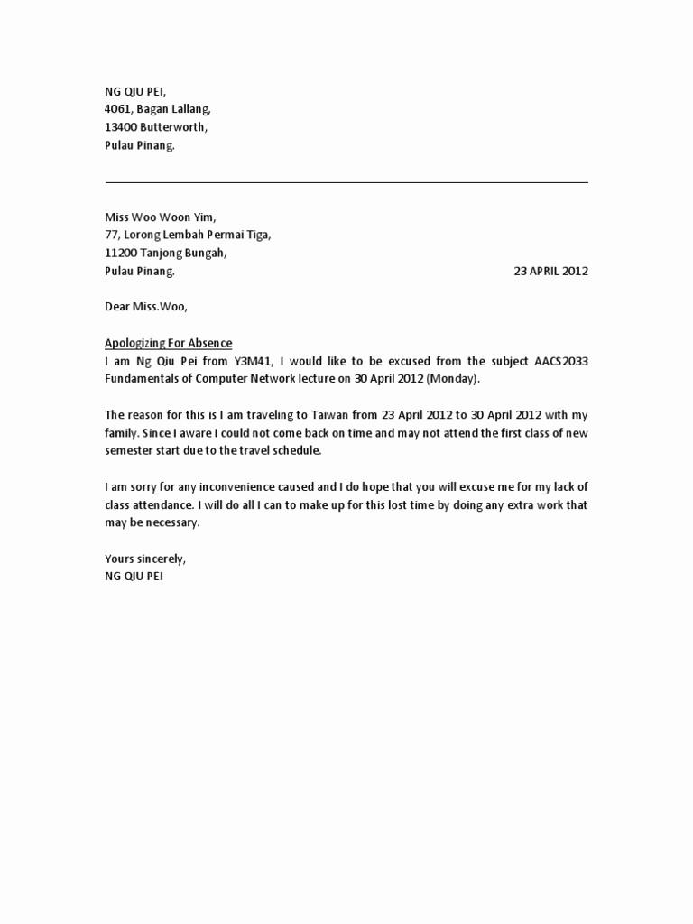 Letter for Absence In School Lovely Absent Letter