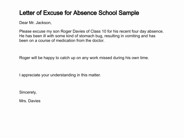 Letter for Absence In School Lovely Letter Of Excuse