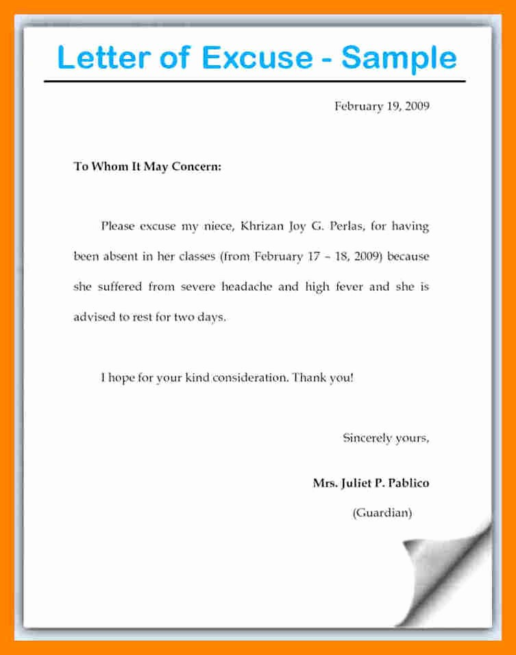 Letter for Absence In School Luxury Luxury Example Excuse Letter