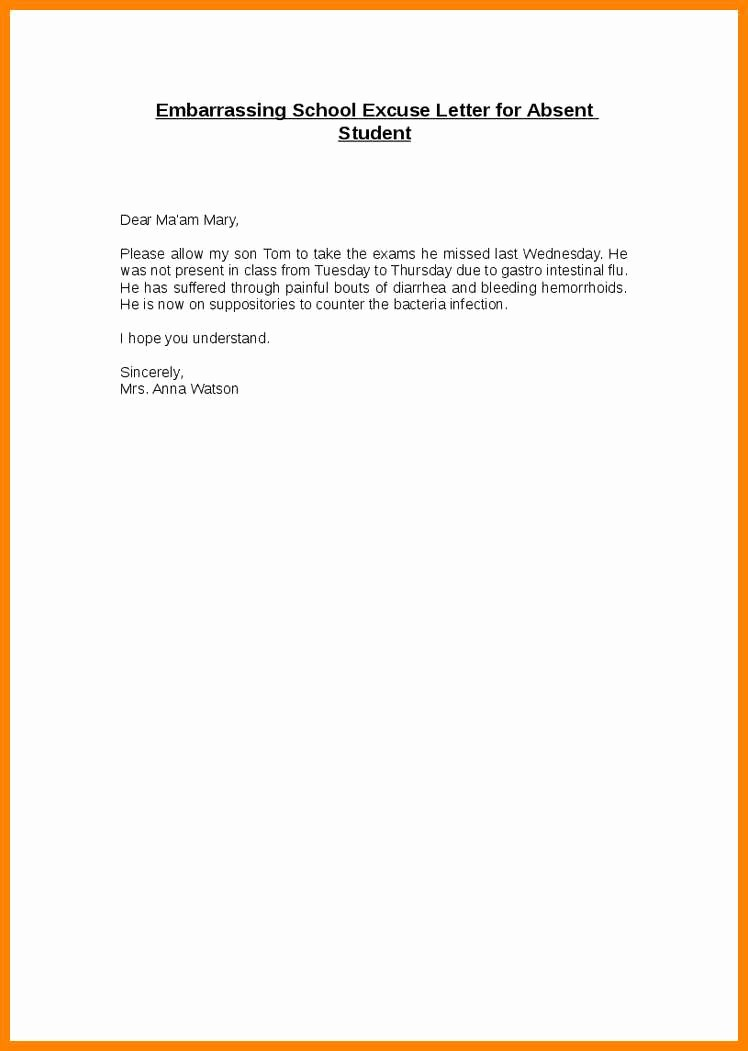 Letter for Absence In School New 4 5 Excused Absence Letter for School Sample