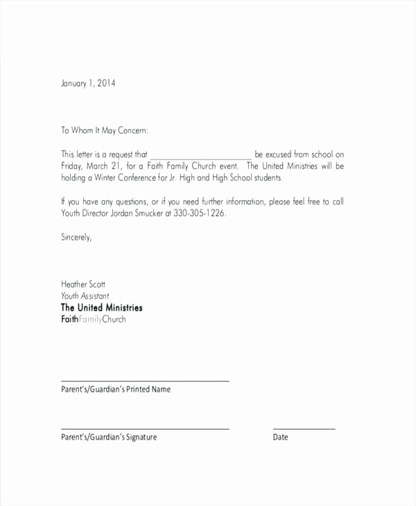 Letter for Absent From School Beautiful Leave Absence Letter Template for School Fresh New
