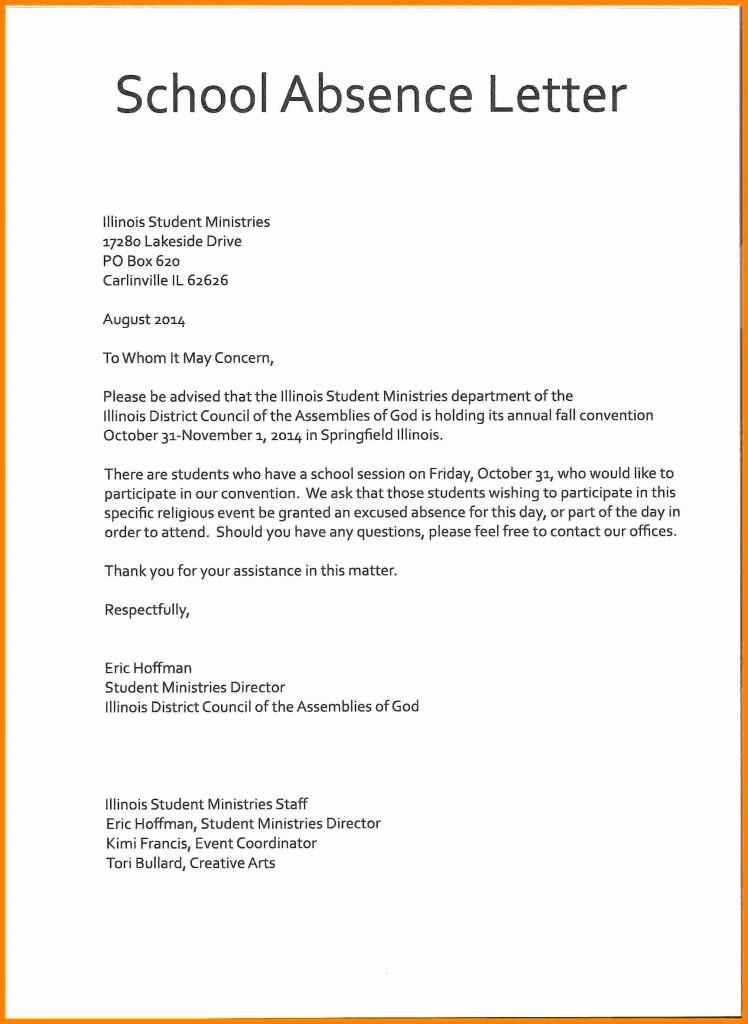 Letter for Absent From School Elegant Resume Responsibilities Letter format for Leave
