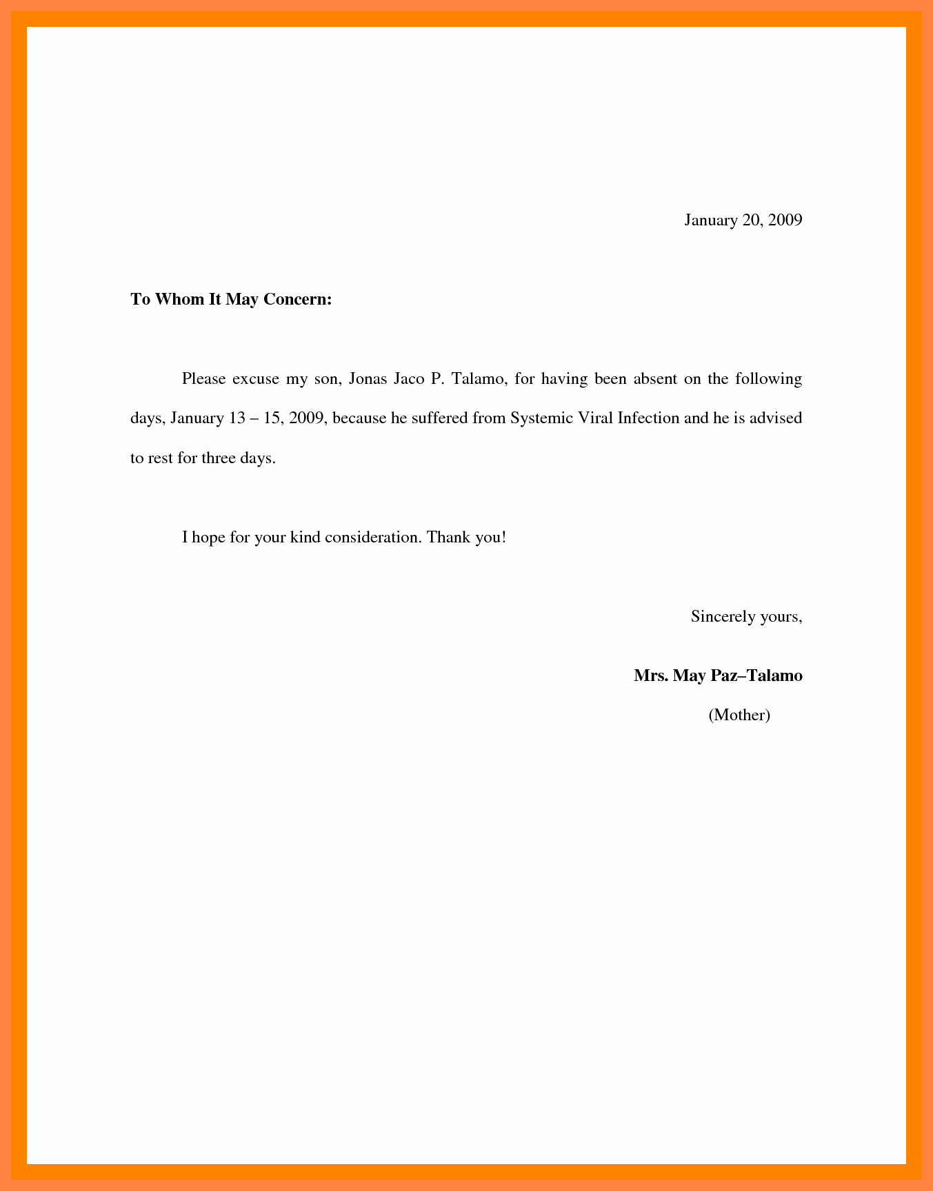 Letter for Absent In School Inspirational School Absence Excuse Letter Sample Example Excuse