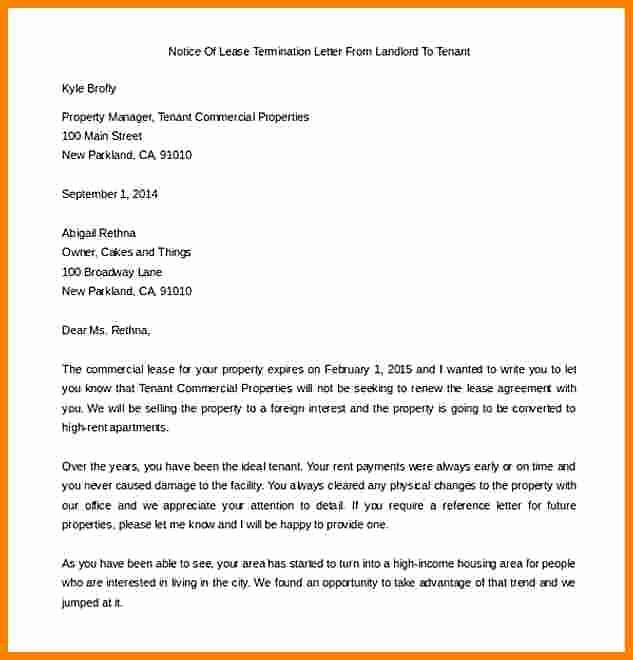 Letter for Not Renewing Lease Lovely 5 End Of Lease Letter to Tenant