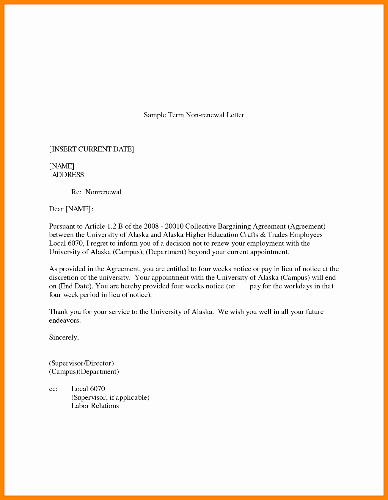 Letter for Not Renewing Lease Lovely Letter Intent Not to Renew Employment Contract