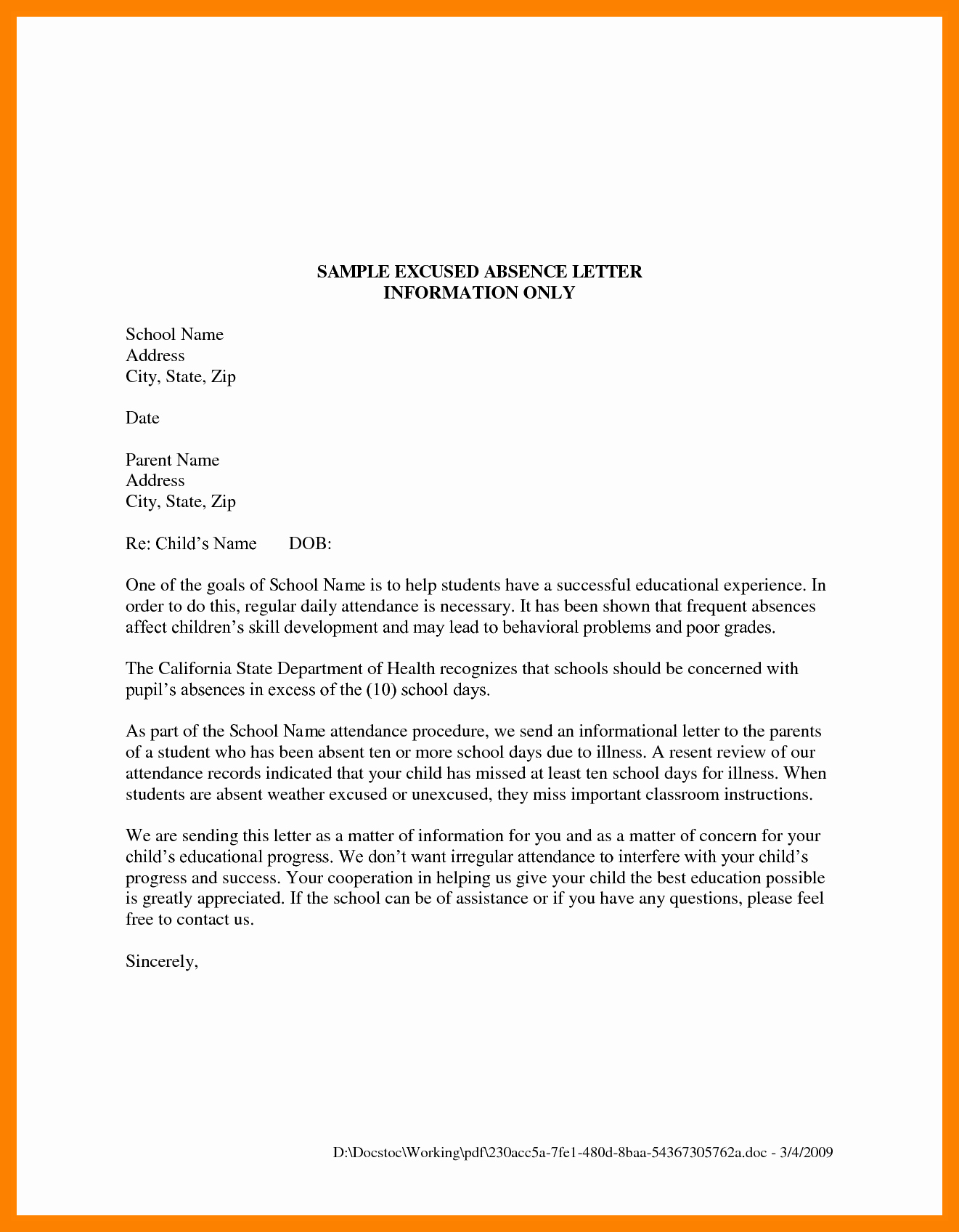 Letter Of Absence to School Awesome School Absence Excuse Note