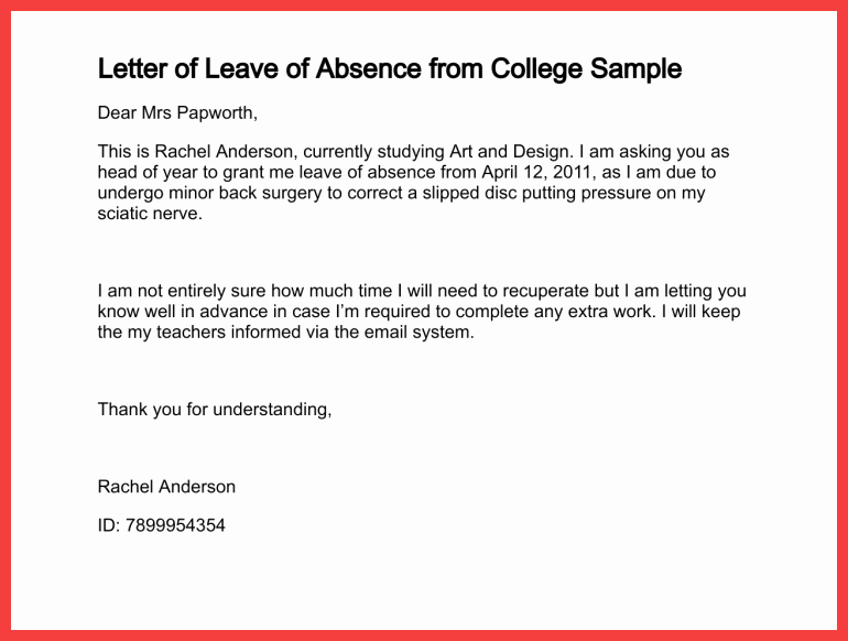 Letter Of Absence to School Awesome School Absence Note Example