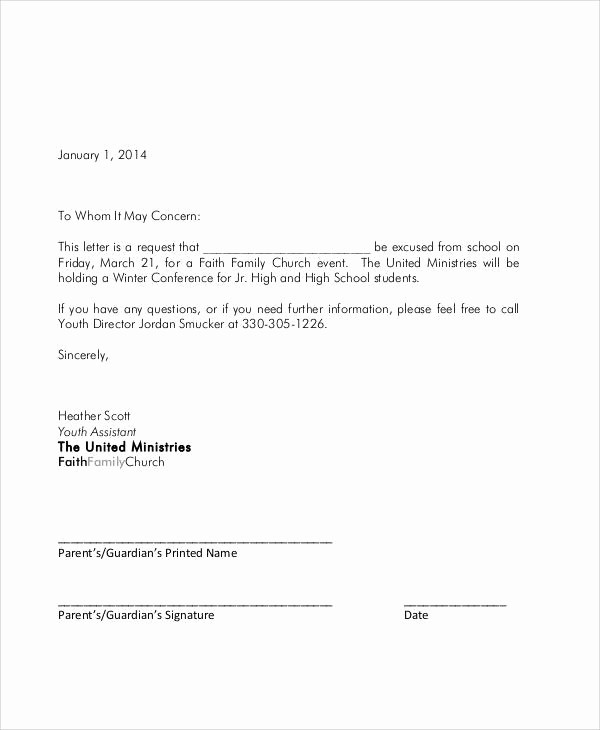 Letter Of Absence to School Best Of Student Absence Excuse Letter Sample 53 Sample Student