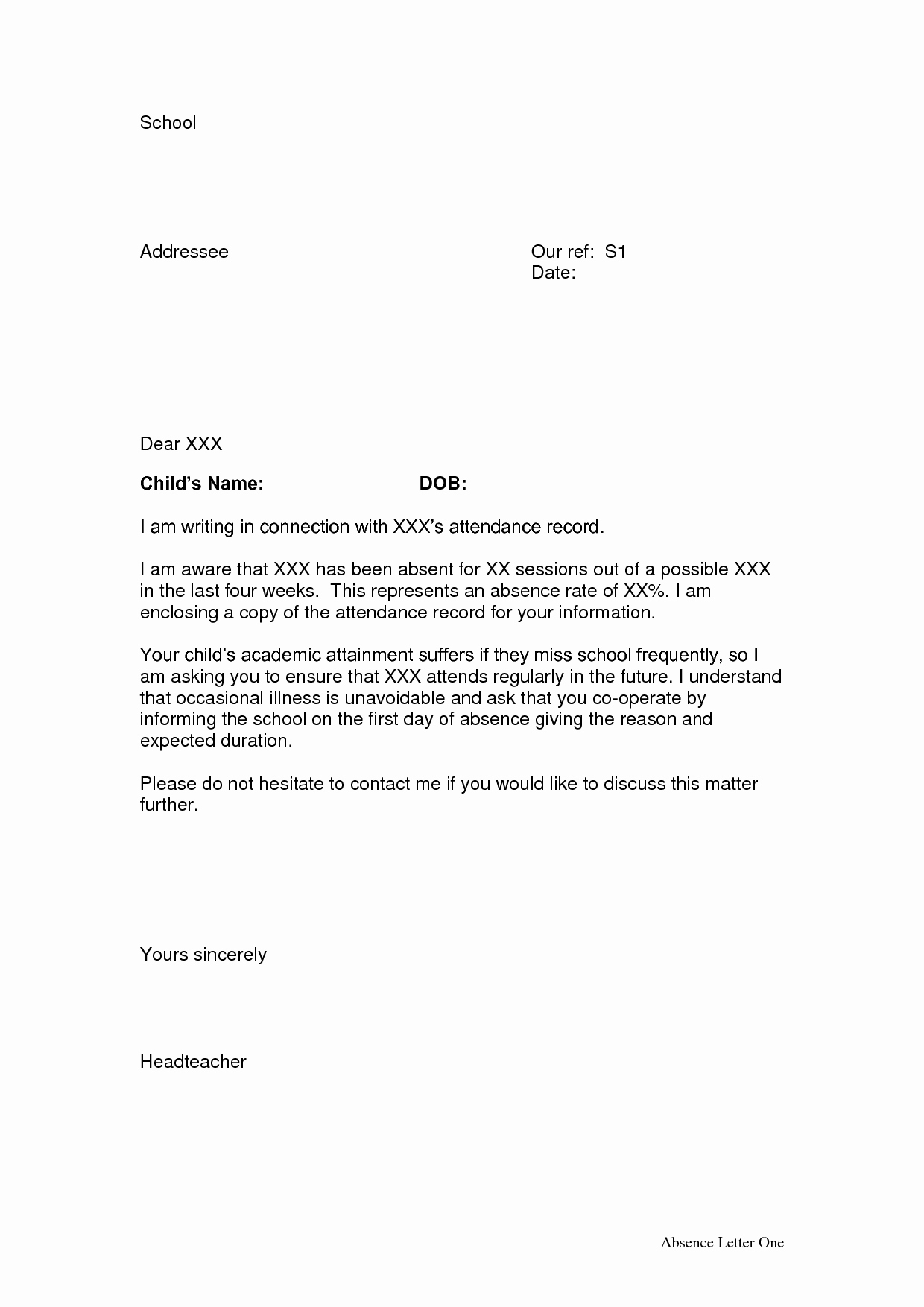 Letter Of Absence to School Lovely 10 Best Of School attendance Letter Template