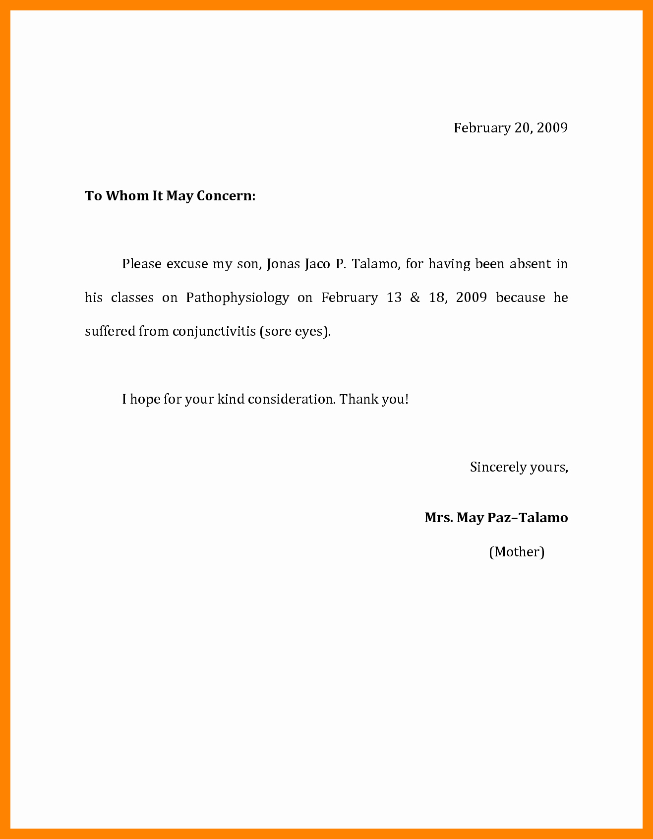 Letter Of Absence to School Lovely Doctors Excuse Note for Work Template