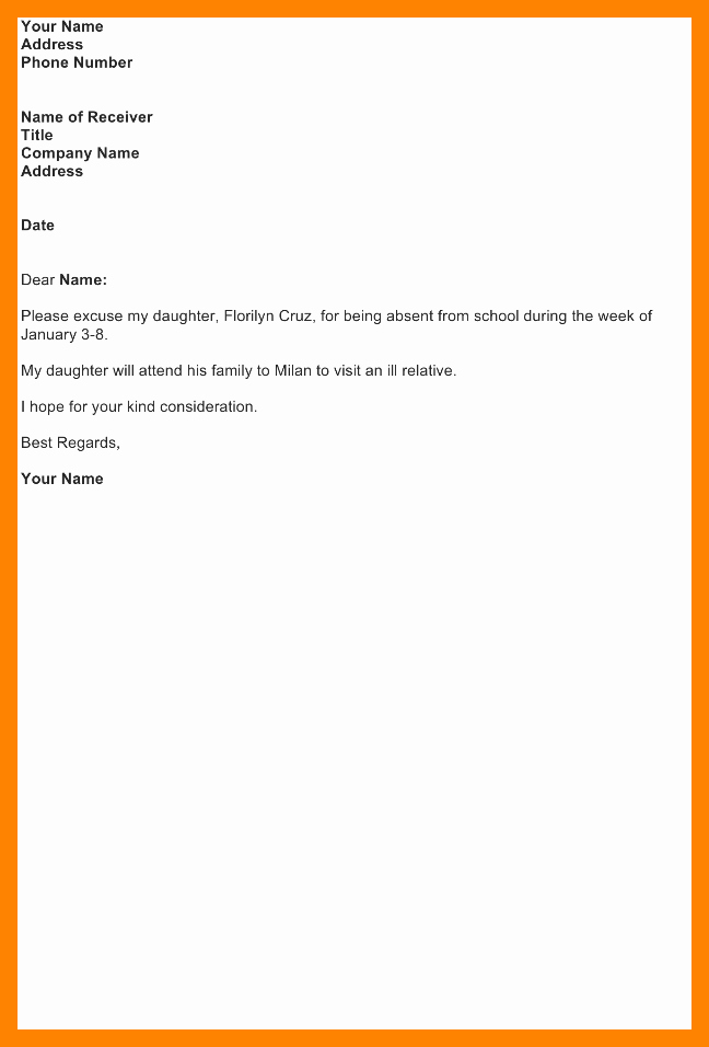 Letter Of Absent to School Awesome Absent Letter for School Sample aslitherair
