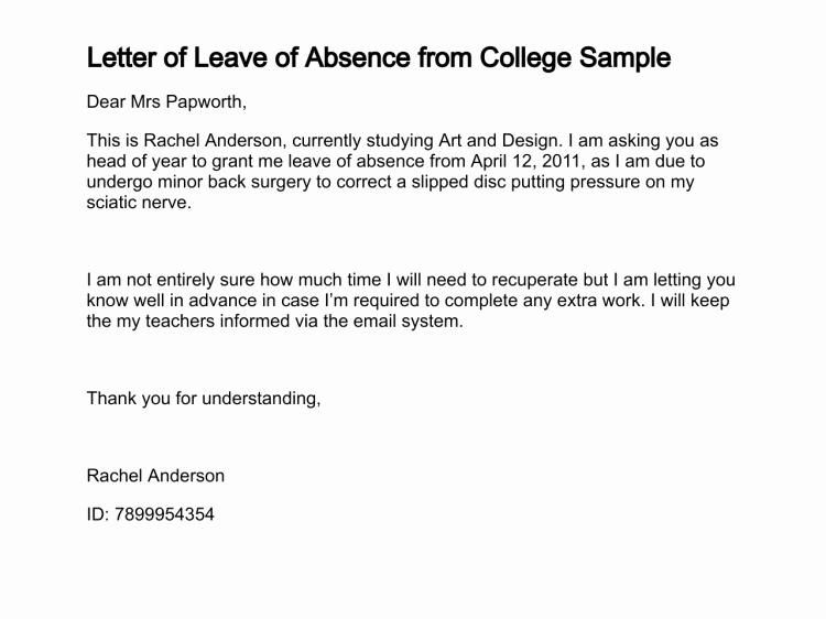 Letter Of Absent to School Awesome Letter Of Leave Of Absence