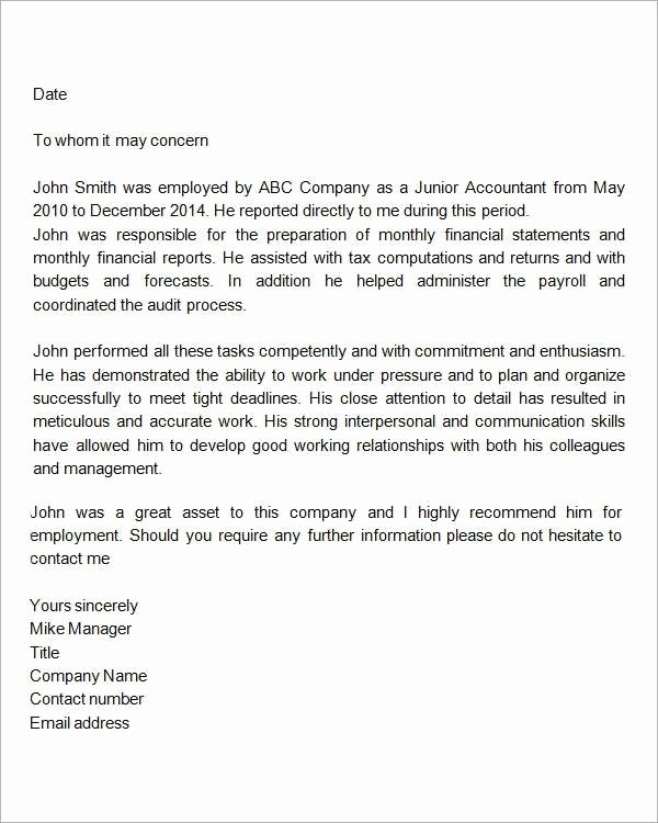 Letter Of Recomendation for Employment Fresh Employment Letters Re Mendation