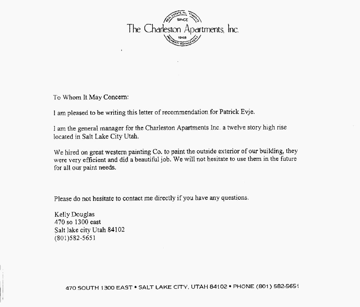 Letter Of Recomendation for Employment Fresh Industrial Painting