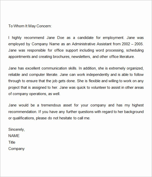 Letter Of Recomendation for Employment Fresh Sample Re Mendation Letters for Employment 12