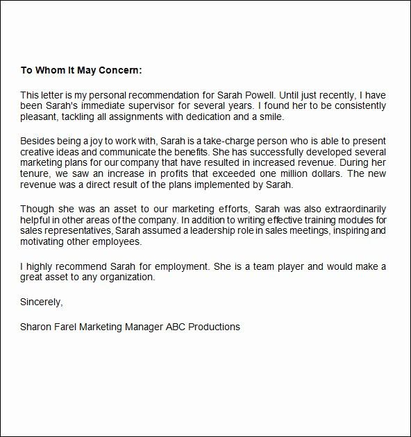 Letter Of Recomendation for Employment Unique 10 Job Re Mendation Letters