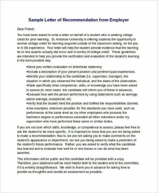 Letter Of Recommendation Employee Template Awesome 15 Sample Re Mendation Letters for Employment In Word