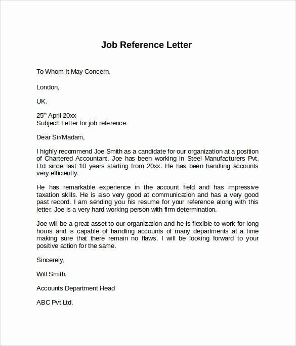 Letter Of Recommendation Employee Template Best Of 8 Job Reference Letters – Samples Examples & formats