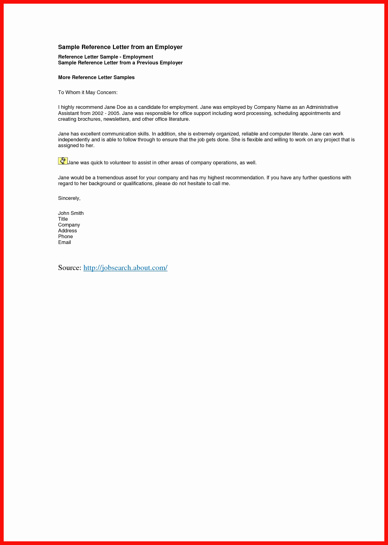 Letter Of Recommendation Employee Template Best Of Example Employment Letter