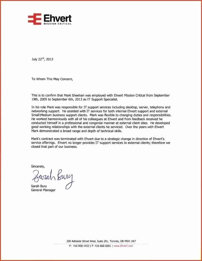 Letter Of Recommendation Employee Template Elegant Employer Reference Letter Template Letter Template
