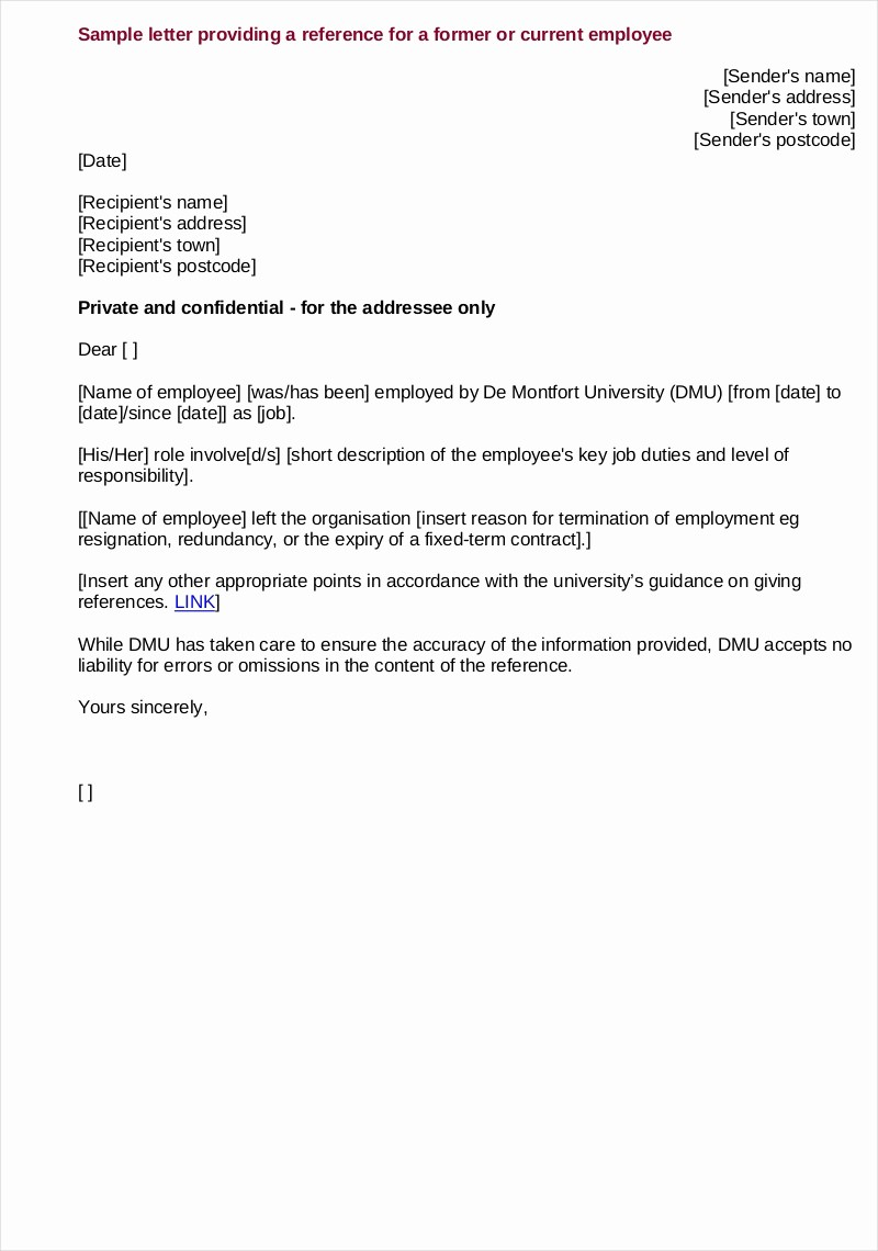 Letter Of Recommendation Employee Template Fresh 9 Employee Reference Letter Examples & Samples In Pdf