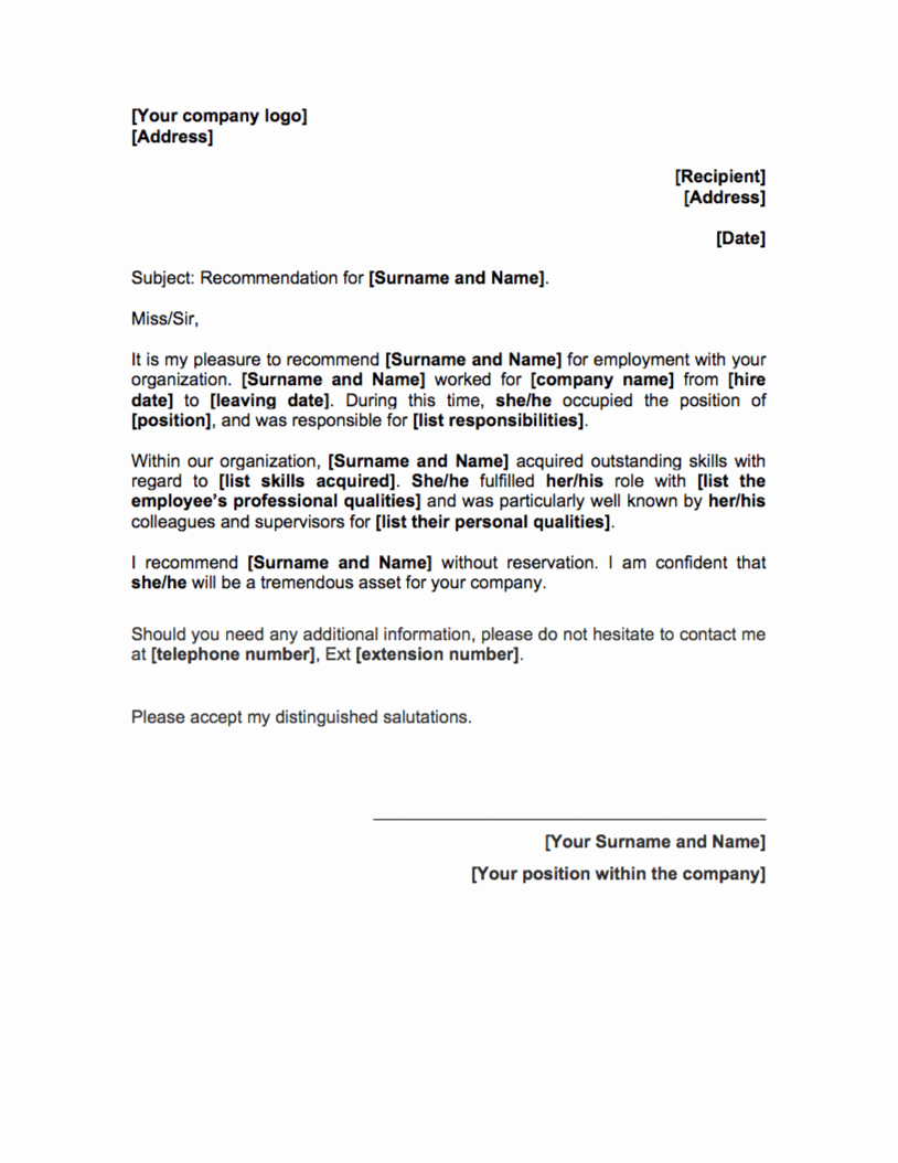 Letter Of Recommendation Employee Template Lovely Reference Letter Template Free Hr tools